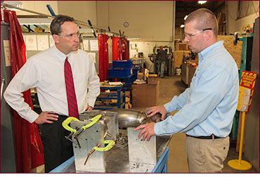 Senator Doyle visiting manufacturer