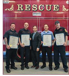 Senator Duff with Norwalk firefighters