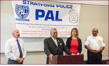 Senator Gomes at Stratford PAL announcement