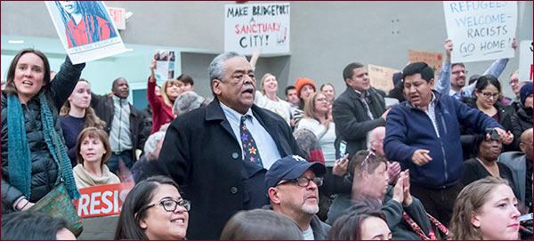 Senator Gomes rallies for Safe Haven schools.