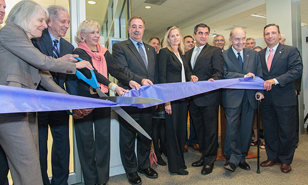 Senator Hartley at ribbon cutting.