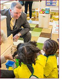 Tim Larson with Head Start kids