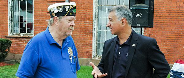 Senator Leone with veterans.