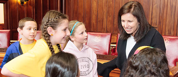 Senator Slossberg with students.
