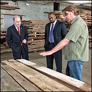 Senators Looney and Holder-Winfield at Reclamation Lumber in New Haven
