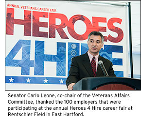 Senator Carlo Leone, co-chair of the Veterans Affairs Committee, thanked the 100 employers that were participating at the annual Heroes 4 Hire career fair at Rentschler Field in East Hartford.