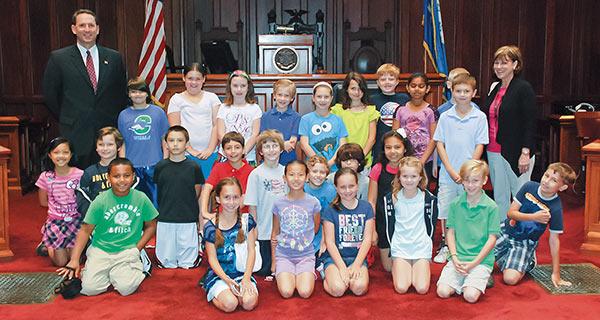 Senator Doyle with students.