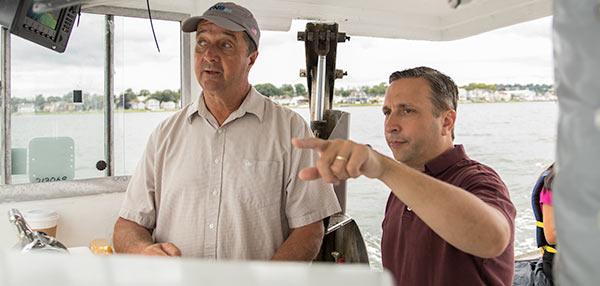 Senator Duff on oystering tour.