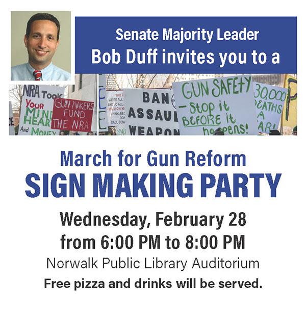 Gun reform sign making party