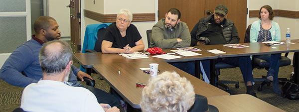 Senator Winfield at a community conversation.