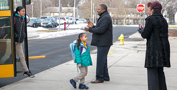 Seantor Winfield greeting students.